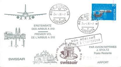 """LETTRE 1 ER VOL SUISSE """"Zürich Paris, 26 avril 1983"""""""