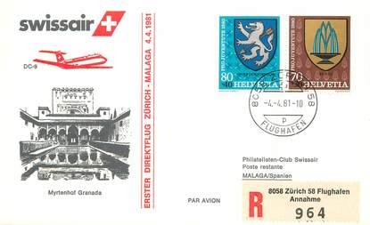 """LETTRE 1 ER VOL / SUISSE """"Zürich / Malaga, 4 avril 1981"""""""