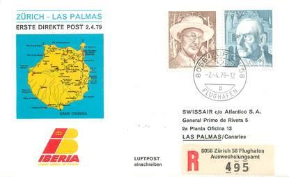 """LETTRE 1 ER VOL / SUISSE """"Zürich / Las Palmas, 2 avril 1979"""""""