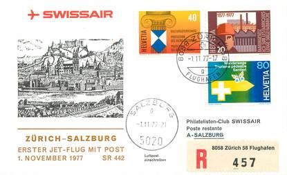 "LETTRE 1 ER VOL / SUISSE ""Zürich / Salzburg, 1er novembre 1977"""