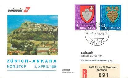 """LETTRE 1 ER VOL / SUISSE """"Zürich / Ankara, 2 avril 1980"""""""