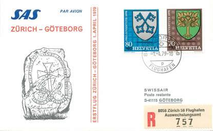 """LETTRE 1 ER VOL / SUISSE """"Zürich / Göteborg, 1er avril 1979"""""""