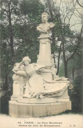 """CPA FRANCE 75 """" Paris 8ème, Le Parc Montceau, Statue de Guy de Maupassant"""". / ECRIVAIN"""
