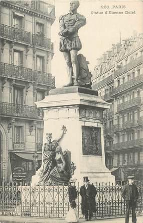"""CPA FRANCE 75 """" Paris 5ème, Statue d'Etienne Dolet"""". / HUMANISTE"""