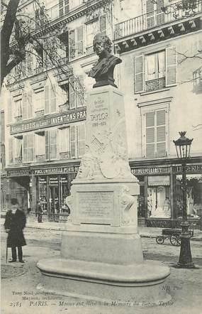 """CPA FRANCE 75 """" Paris 10ème, Statue du Baron Taylor"""". / HOMME D'ART"""