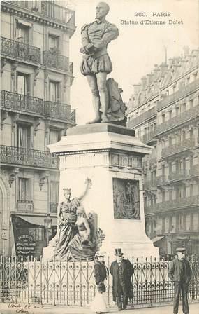 """CPA FRANCE 75 """" Paris 5ème, Statue Etienne Dolet"""". / HUMANISTE"""