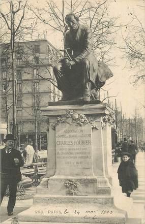 """CPA FRANCE 75 """" Paris 18ème, Statue de Charles Fourier"""". / PHILOSOPHE"""