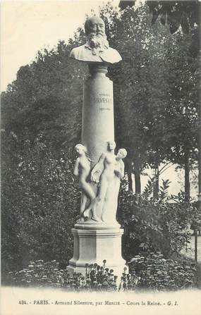 """CPA FRANCE 75 """" Paris 8ème, Monument Armand Silvestre"""". / ECRIVAIN"""