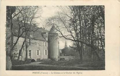 """CPA FRANCE 86 """"Persac, Le château et le clocher de l'église""""."""