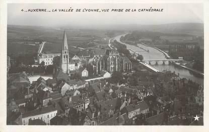 """CPSM FRANCE 89 """" Auxerre, La vallée de l'Yonne, vue prise de la cathédrale""""."""