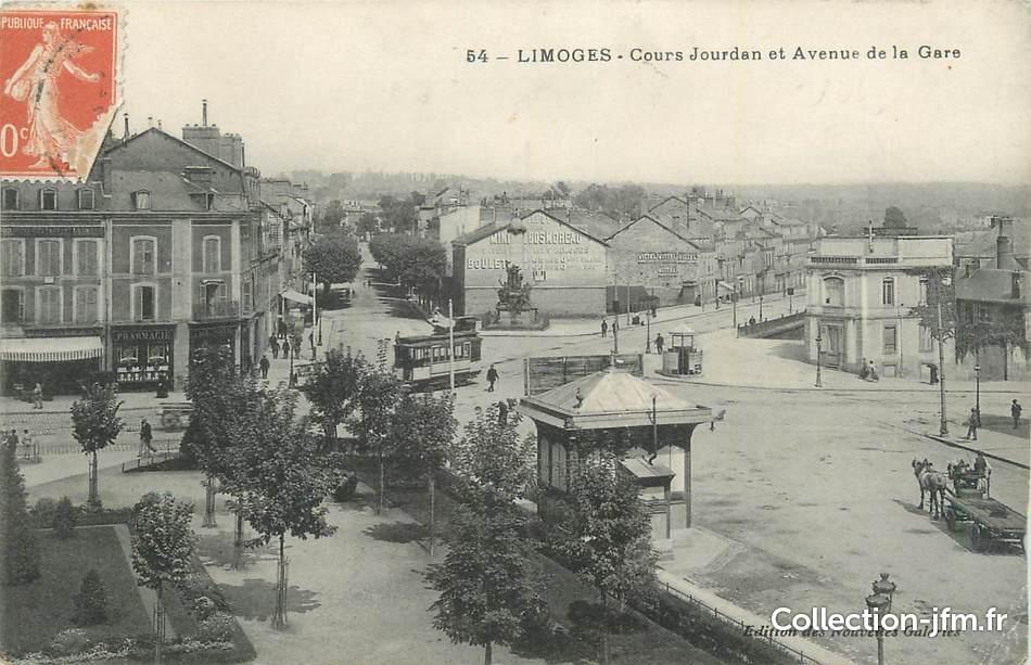 Cpa france 87 limoges cours jourdan et avenue de la for 87 haute vienne france