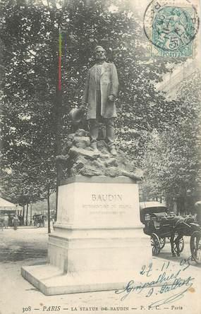 "CPA FRANCE 75 ""Paris 12 ème, Statue de Baudin"". / MEDECIN"