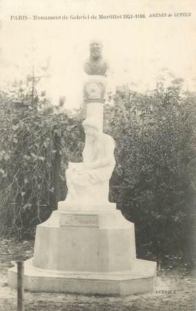 """CPA FRANCE 75 """"Paris 5ème, Statue de Gabriel Mortillet"""". / ARCHEOLOGUE"""