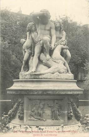 """CPA FRANCE 75 """"Paris 6ème, Le Monument du groupe Adam et sa famille dans le Jardin du Luxembourg""""."""