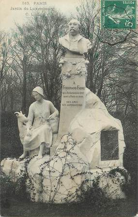 """CPA FRANCE 75 """"Paris 6ème, Le monument de Ferdinand Fabre au Jardin du Luxembourg"""" . / ECRIVAIN"""