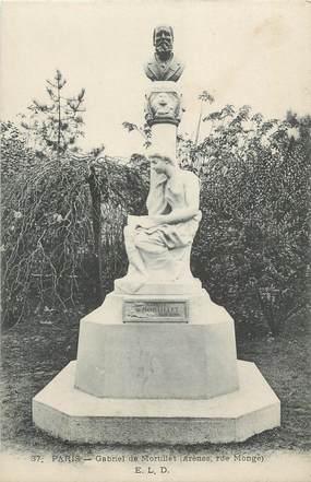 """CPA FRANCE 75 """"Paris 5ème, La statue de Gabriel de Mortillet,"""" . / ARCHEOLOGUE"""