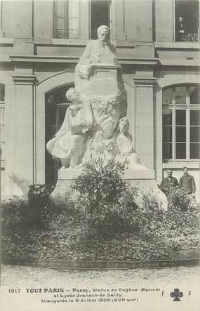 """CPA FRANCE 75 """"Paris16ème, Statue de Eugène Mannuel"""". / POETE HOMME POLITIQUE"""