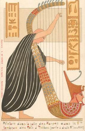 """CPA EGYPTE """"Peinture dans la salle des Harpes"""""""