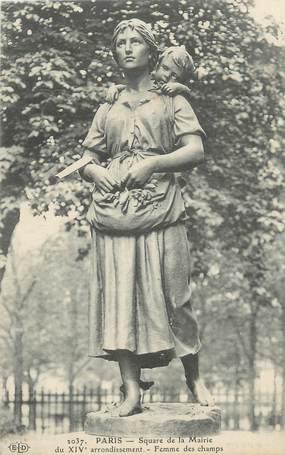 """CPA FRANCE 75 """"Paris 14ème, Square de la Mairie, Statue d'une femme des champs""""."""