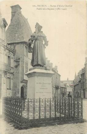 "CPA FRANCE 14 "" Bayeux,, Statue d'Alain Chartier"". / POETE"