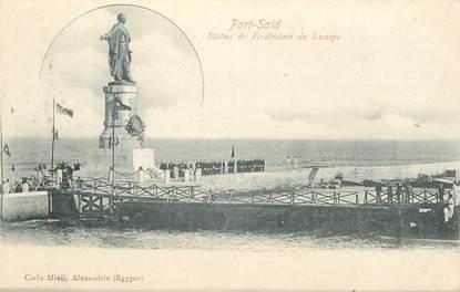 """CPA EGYPTE """"Port Saïd, statue de Ferdinand de  Lesseps"""""""