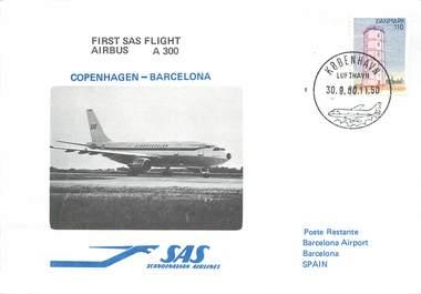 "LETTRE 1 ER VOL / SCANDINAVIE ""Copenhague / Barcelone, 30 septembre 1980"""