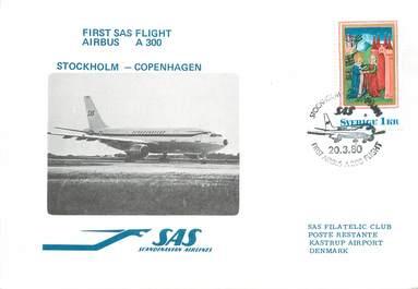 "LETTRE 1 ER VOL / SCANDINAVIE ""Stockholm / Copenhague, 20 mars 1980"""
