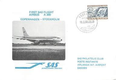 "LETTRE 1 ER VOL / SCANDINAVIE ""Copenhague / Stockholm, 19 mars 1980"""