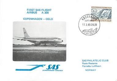 """LETTRE 1 ER VOL / SCANDINAVIE """"Copenhague / Oslo, 17 février 1980"""""""