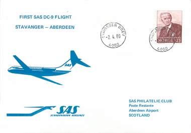 """LETTRE 1 ER VOL / SCANDINAVIE """"Stavanger / Aberdeen, 2 avril 1980"""""""