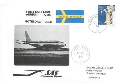 """LETTRE 1 ER VOL / SCANDINAVIE """"Göteborg / Oslo, 21 décembre 1980"""""""