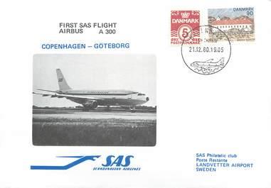 """LETTRE 1 ER VOL / SCANDINAVIE """"Copenhague / Göteborg, 21 décembre 1980"""""""