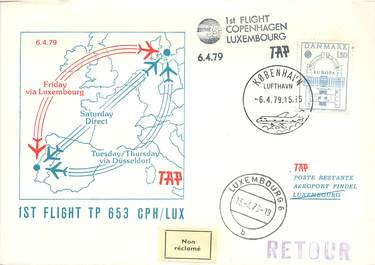 "LETTRE 1 ER VOL / SCANDINAVIE ""Copenhague / Luxembourg, 6 avril 1979"""