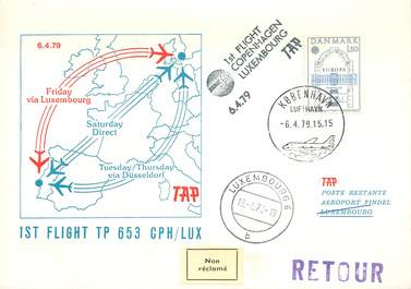 "LETTRE 1 ER VOL / SCANDINAVIE ""Copenhague / Luxembourg, 6 avril 1979"""