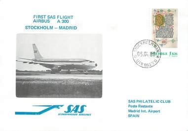 """LETTRE 1 ER VOL / SCANDINAVIE """"Stockholm / Madrid, 5 avril 1980"""""""