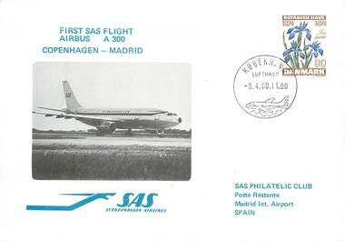 "LETTRE 1 ER VOL / SCANDINAVIE ""Copenhague / Madrid, 5 avril 1980"""