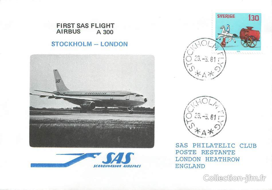 lettre 1 er vol scandinavie stockholm londres 29 mars 1981 1 er vol scandinavie ref. Black Bedroom Furniture Sets. Home Design Ideas