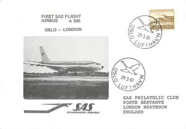 """LETTRE 1 ER VOL / SCANDINAVIE """"Oslo / Londres, 29 mars 1981"""""""