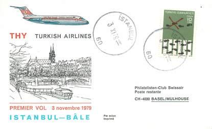 """LETTRE 1 ER VOL / TURQUIE """"Istanbul / Bäle, 3 novembre 1979"""""""