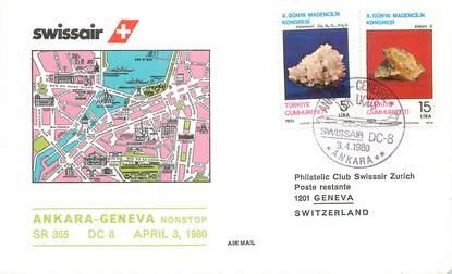 "LETTRE 1 ER VOL / TURQUIE ""Ankara / Genève, 3 avril 1980"""