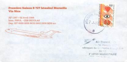 "LETTRE 1 ER VOL / TURQUIE ""Istanbul / Marseille, 2 avril 1989"""
