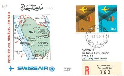 "LETTRE 1 ER VOL / ONU ""Genève / Jeddah, 2 novembre 1978"""
