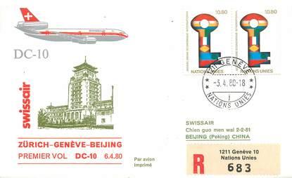 "LETTRE 1 ER VOL / ONU ""Zürich / Genève / Beijing, 3 avril 1980"""