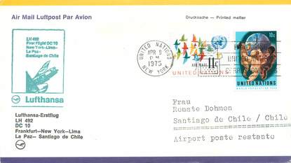 "LETTRE 1 ER VOL / ONU ""Francfort / New York / Lima / La Paz / Santiago de Chile, 9 avril 1975"""