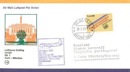 """LETTRE 1 ER VOL / ONU """"Genf / Münich, 30 mars 1981"""""""