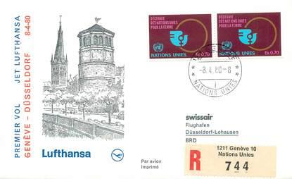 """LETTRE 1 ER VOL / ONU """"Genève / Düsseldorf, 8 avril 1980"""""""