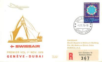 """LETTRE 1 ER VOL / ONU """"Genève / Dubai, 1er novembre 1976"""""""