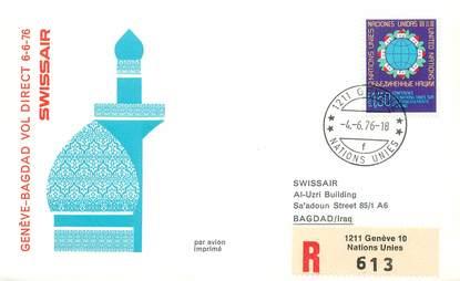 """LETTRE 1 ER VOL / ONU """"Genève / Bagdad, 6 juin 1976"""""""