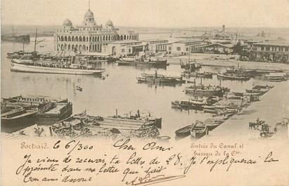 """CPA EGYPTE """" Port Saïd, entrée du Canal"""""""