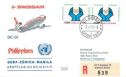 "LETTRE 1 ER VOL / ONU ""Genf / Zürich / Manille, 2 novembre 1977"""